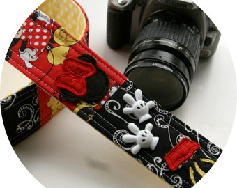 Mystery Patchwork Pieces of Minnie DSLR SLR Camera Strap