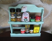 Painted Spice rack, Wooden Spice Rack, Robbin Egg Blue, Craft Shelf, Cottage Chic, Storage, Kitchen Storage, For Spices & Small Supplies,