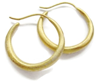 Vermeil Gold Hoop Earrings, Medium Round Hoops Solid Artisan Handmade by Sheri Beryl