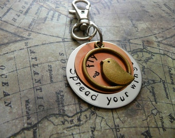 Hand stamped metal keyring, silver, copper, bird. Spread your wings and fly