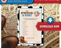 Cowboy Baby Shower Game   Price is Right   Western Baby Boy Shower Theme   Printable   Hundreds of Shower Games Available   INSTANT DOWNLOAD