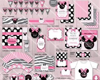 Minnie Mouse Birthday Party Package | Printable Party Pack | Pink Girls | Invitation Available | Instant Download