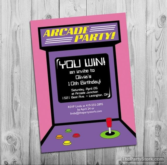 Arcade Party Invitation Digital Printable Invite for Girls – Arcade Party Invitations