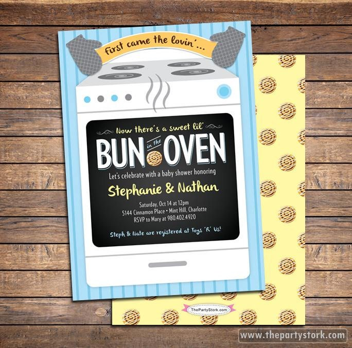 bun in the oven baby shower invitation boy baby shower