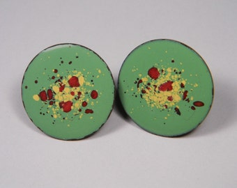 Copper Enamel, Vintage Earrings, Green, Red, White, Screw In, 60s