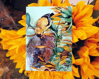 ACEO Limited Edition  1/25- Goldfinch and sunflowers