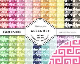 Greek Key 20 Piece Digital Scrapbook Paper Mega Pack - Personal and Commercial Use - INSTANT DOWNLOAD