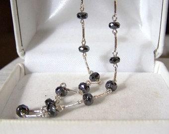Hematite & Sterling Necklace Alternating Links Handmade Artisan Womens Fine Jewelry Genuine Non-Magnetic Gemstone