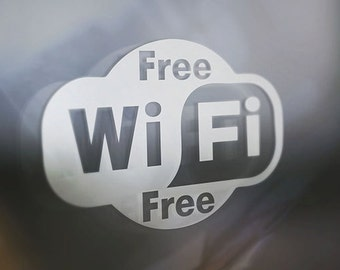 FREE WiFi Etched Glass Decals (3) Three Total Wall vinyl decal Restaurant Business