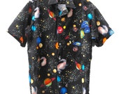 RESERVED Carl Sagan Planets Space Galaxy Handmade Button Up Collared Shirt