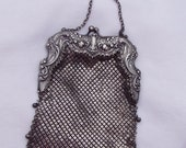 300 D SALE! Gorham Sterling Silver Repousse Mesh Purse with belt hook