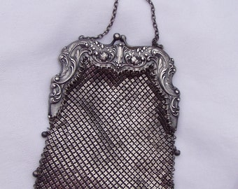 288.88 D SALE! Gorham Sterling Silver Repousse Mesh Purse with belt hook
