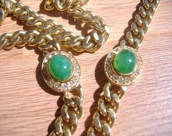 Ciner Gold Cablelink Jade / Swarovski Crystal Cabachon Necklace