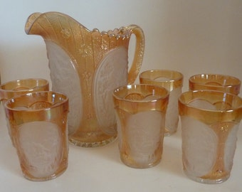 vintage carnival glass 7-piece water set by Imperial Glass Co