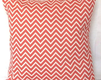 SALE Coral Pillow Cover - Mini Chevron - 18x18 or 20x20 inch Decorative Throw Cushion Cover - Coral and White Mini Zig Zag