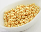4mm Yellow Gold Pearl Beads (100) Czech Small Glass Thin Pressed Round Druk Opaque Spacers