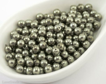 4mm Olive Pearl Beads (50) Czech Small Glass Thin Pressed Round Druk Opaque Spacers Pastel Pale Moss Green