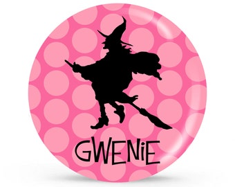 Personalized Halloween Plate - Witch - Customized Plate for Children