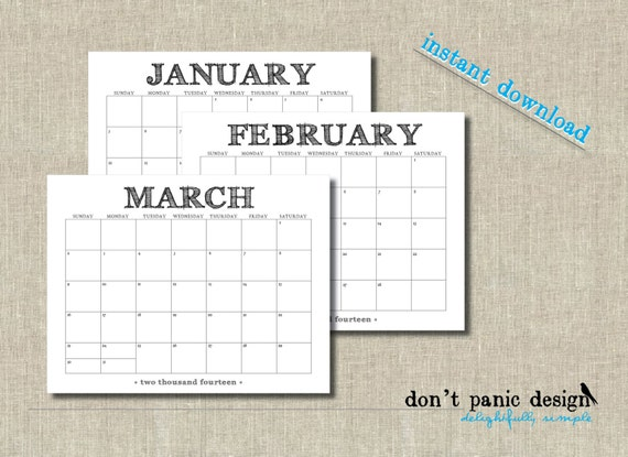 ... Monthly Wall Calendar - 12 Month Handdrawn Font Printable Monthly