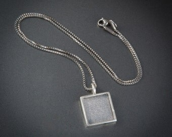 Fibonacci Numbers Pendant Necklace - 18 Inch 1.5mm Stainless Steel Box Chain - Inset Silver Plated Pendant - Loupe Optional