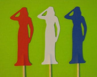 12 female soldier cupcake toppers-military cupcake toppers