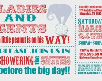 Circus Baby Shower Invitation -- digital, custom, printable --  Baby Boy -- Baby Shower Invite