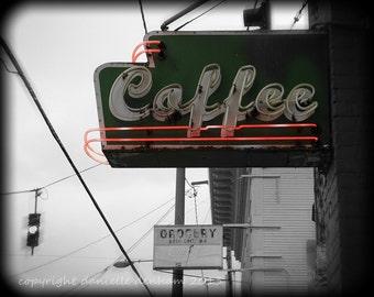 Coffee Photo Street Sign Portland Black and White Holga--Fine Art Photography 8x10
