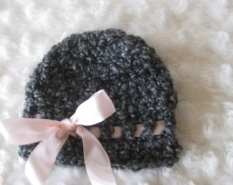 Crochet Baby Hat Girl Ribbon Handmade Photo Prop Grey Gray hat with pink ribbon