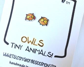 Owl Earrings  - Studs -  Shrinky Dink - Shrink Plastic