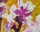 Decorative Small Original Mixed Media Floral Art Painting Textured White Blossoms