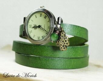 Clover Wrap Watch - Lucky wrap watch  - Lucky Charm, Irish Luck- Irish Wedding -Black friday-Cyber monday.