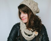 Warm Me Up 3pc Set Infinity Scarf, Slouch Hat and Boot Cuffs in your yarn choice