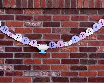 Ice Cream Sundae Birthday Banner, Banana Split Party Banner, Ice Cream Party Banner