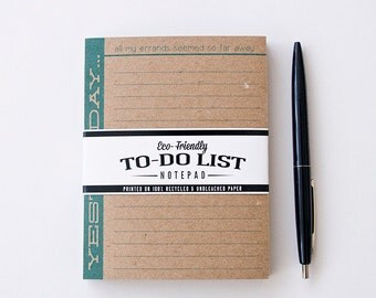 Beatles Song Parody To Do List - Yesterday, All My Errands Seemed So Far Away -  Notepad printed on Recycled Kraft Brown - 25 sheets