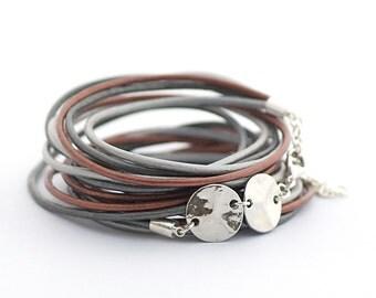 Gray Silver Brown Boho Wrap Bracelet, Women Bracelet, Charms Bracelet, Minimalist Jewelry, Bohemian Jewelry, Christmas gift for her