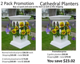 2 pack PVC planter promotion, strong hanging planter virtually maintenance free ez fill ez clean modern materials everlasting durable US