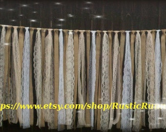 Country Rustic Charm Wedding hanging Decoration Burlap and Lace Garland Swag Rag Tie Backdrop, Shabby Chic Vintage Lace Curtain, Photo Props
