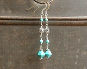 Turquoise And Bali Silver Dangle Earrings, OOAK - VonCliecXclusives