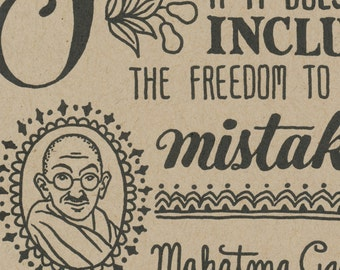 MISTAKEN original Dead Feminists letterpress apology card featuring quote by Mahatma Gandhi