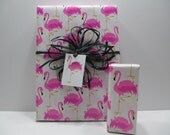 Pink Flamingos Gift Wrap, wrapping paper, table runner, 10 feet long x 24 inches wide
