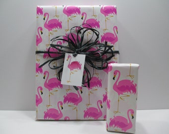 Pink Flamingo Gift Wrap, Pink Flamingo wrapping paper, table runner, 10 feet long x 24 inches wide