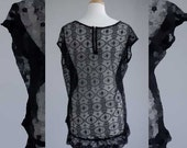 Women's clothing recylcled black t lace back M