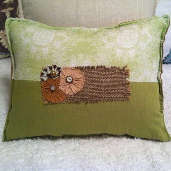 two lime sage green brown pillow with burlap green rustic. Black Bedroom Furniture Sets. Home Design Ideas