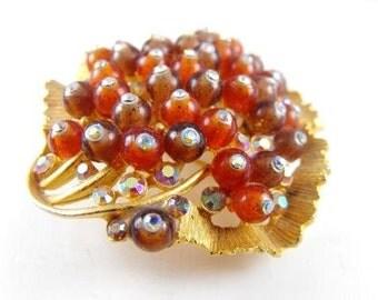 Brooch Luxxe Leaf Signed BSK Aurora Borealis Tipped Stippled Amber Art Glass Beaded Wonder