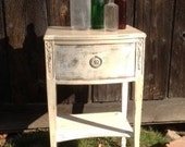 White Antiqued Finished Side Table