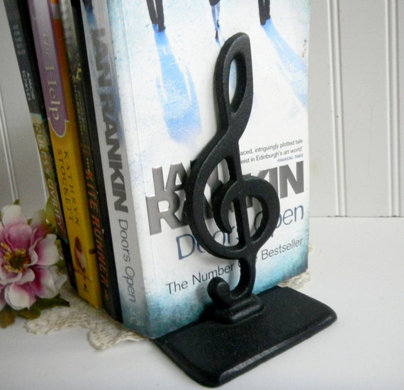 Reserved for sarah music bookends trebile by mamiezvintage - Treble clef bookends ...