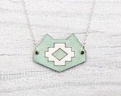 Cat Necklace, Mint Tribal Pendant, turquoise cat, Tribal Necklace