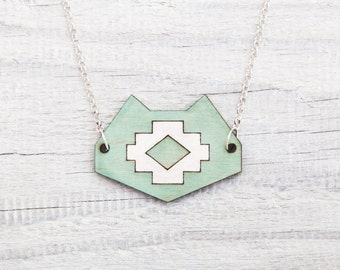 Cat Necklace, Mint Tribal Pendant, Mint Necklace, Gift For Sister, Tribal Necklace, Cat Lover Gift, Wooden Jewelry, Gift For Her, Mom Gift
