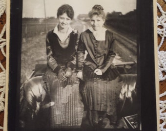 Vintage 1800s Photograph Two Young Ladies 3 1/4 X 4 1/4 inches
