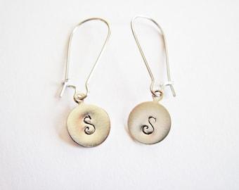 Personalized Initials Earrings, personalized earrings, initial earrings, engraved earrings, hand stamped earrings, custom earrings silver